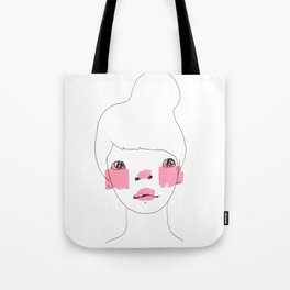 Line Drawing of a Girl in Neon  Tote Bag