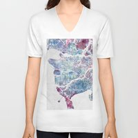 vancouver V-neck T-shirts featuring Vancouver map by MapMapMaps.Watercolors