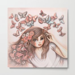 Paper Butterflies with girl Metal Print