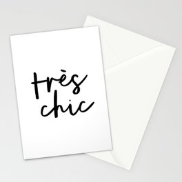 Tres Chic black and white monochrome typography poster design home wall bedroom decor canvas Stationery Cards