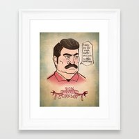 ron swanson Framed Art Prints featuring Ron Swanson by Monica McClain