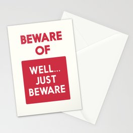 Beware of well just beware, safety hazard, gift ideas, dog, man cave, warning signal, vintage sign Stationery Cards
