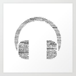 Typographic headphone Art Print