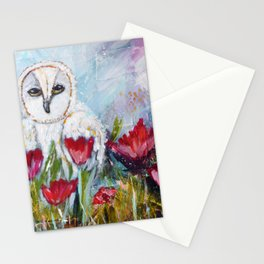 Owl in Poppies Stationery Cards