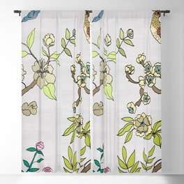 Chinoiserie Panels 3-4 Silver Gray Raw Silk - Casart Scenoiserie Collection Blackout Curtain