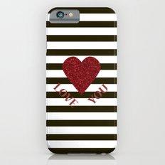 LOVE YOU Valentine print. Red glitter heart and black stripes congratulation card iPhone 6s Slim Case