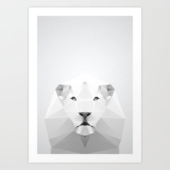 Lion - White Geo Series 2013 Art Print