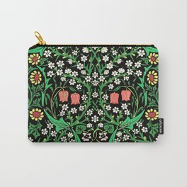 William Morris Jacobean Floral, Black Background Carry-All Pouch