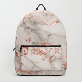Elegant abstract gray rose gold foil marble Backpack