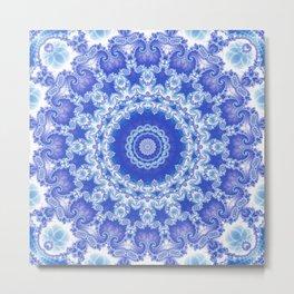 Clarity Mandala in Blue and White Metal Print