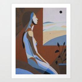 Sunset. Woman and window Art Print