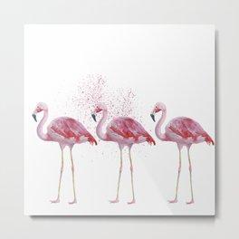 Three Flamingos #society6 Metal Print