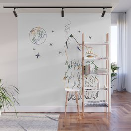 Wolf howling on moon sketch Wall Mural