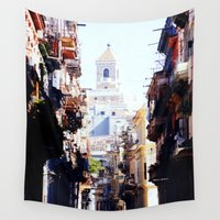 cuba Wall Tapestries featuring Old Downtown Havana Cuba by Rafael Salazar