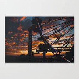 Sunset over Santa Monica Pier. Canvas Print