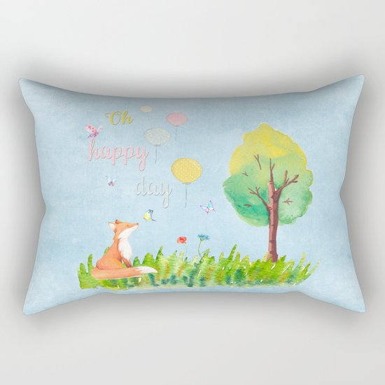 Fox- oh happy day on blue backround- Watercolor illustration Rectangular Pillow
