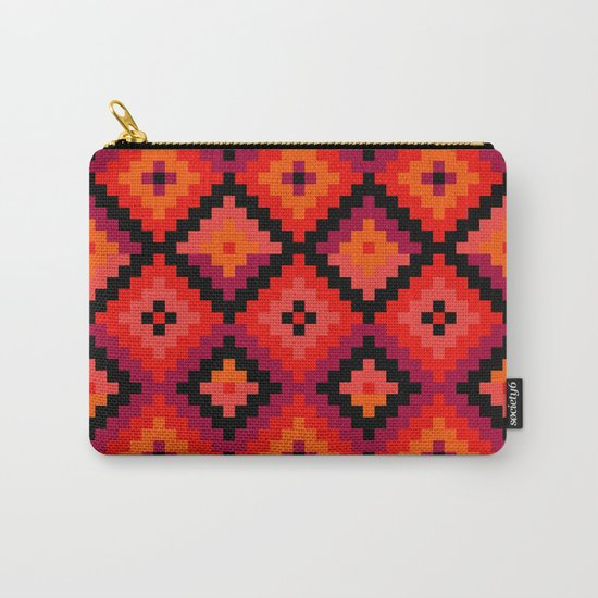 Aztec pattern - orange, pink, fuchsia Carry-All Pouch