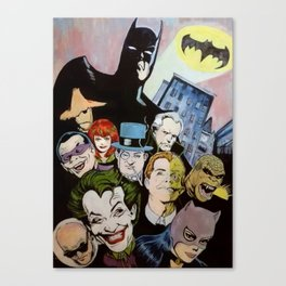 Bat man, Superhero , retro, Joker, painting, comic,  Canvas Print