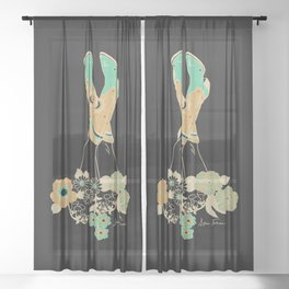 Love Stoned Cowboy Boots - Emerald, Cream, Black Sheer Curtain