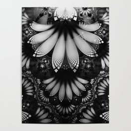 Shikoba Fractal -- Glittering Black and White Feathers in the Night Poster