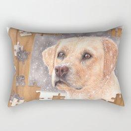 Winter labrador colored pencil illustration Rectangular Pillow