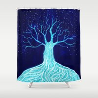 frozen Shower Curtains featuring Frozen by Nancy Woland