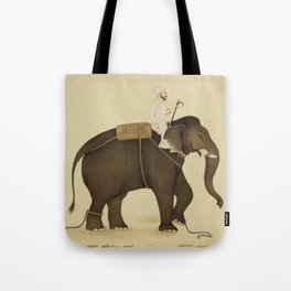Mahout Riding an Elephant Painting (18th Century) Tote Bag