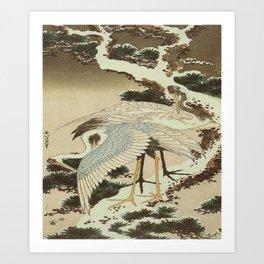 hokusai – two crane on a pine -bird,beak,plum,nature Art Print