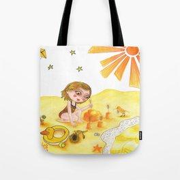 Petites filles des couleurs Jaune Tote Bag
