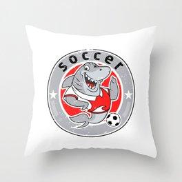 Shark mascot team logo soccer Throw Pillow