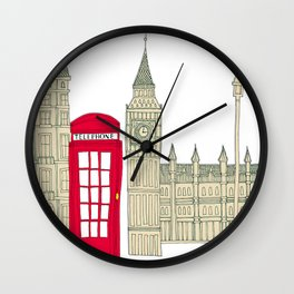 London red telephone box (cut out - red) Wall Clock