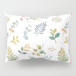 Elegant pink teal lilac yellow watercolor floral leaves Pillow Sham