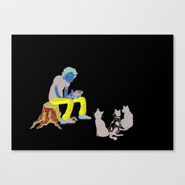 Self-Portrait w/Cats Canvas Print