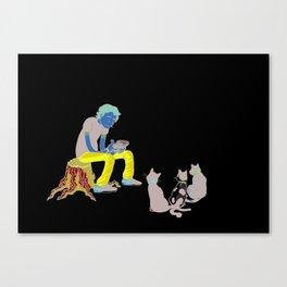Self-Portrait w/Cats Canvas Print