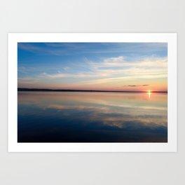 Sunbeam on the blue water Art Print
