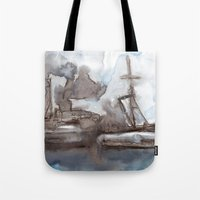boats Tote Bags featuring Boats by Marine Koprivnjak