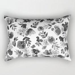 Floret Black and White Rectangular Pillow