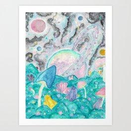 Mushroom Crystal Planet Art Print