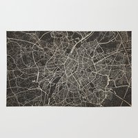 brussels Area & Throw Rugs featuring brussels map ink lines by NJ-Illustrations