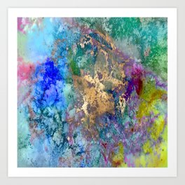 Galaxy, abstract, gold accent Art Print