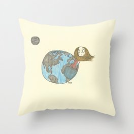 One Delusionary Loon Lands in the Pocket of the Earth Throw Pillow