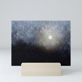Glowing Moon in the night sky Mini Art Print