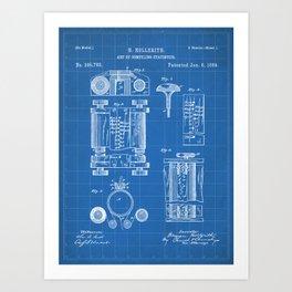First Computer Patent - Technology Art - Blueprint Art Print