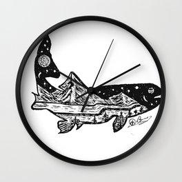 """Trout Dreams"" Hand Drawn Double Exposure Fishing Camping Art Wall Clock"