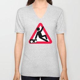 Caution: Breaking hazard Unisex V-Neck