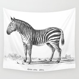 Zebra black and white retro drawing Wall Tapestry