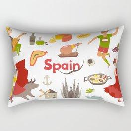 Spain traditional symbols set. Travel tourist element.Traditional spainish corrida, flamenco, guitar Rectangular Pillow