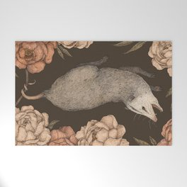 The Opossum and Peonies Welcome Mat
