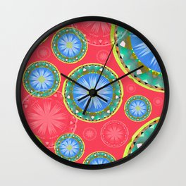 Hand Painted Daisy Boho Mandala Traditional Stamp Print Wall Clock