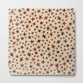 Primitive stars red white blue distressed americana folk art Metal Print
